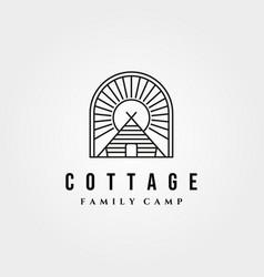 Cottage retro logo vintage with sunburst symbol vector