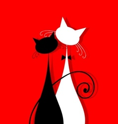 Couple cats together silhouette for your design vector image