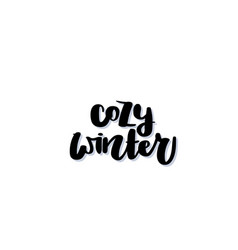 cozy winter handwritten black text vector image