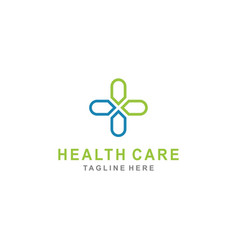 Cross plus sign with line art for medical logo vector