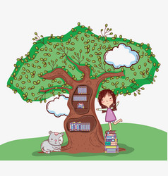Cute girl with tree library vector