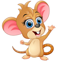 Cute mice cartoon waving vector