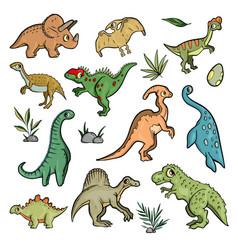dinosaur set on white background cute cartoon vector image