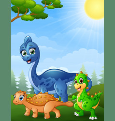 dinosaurs cartoon in the jungle vector image