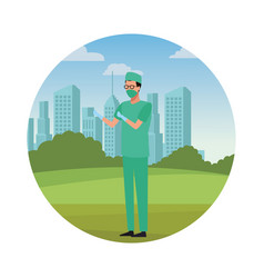 Doctor surgeon jobs and professions avatar vector