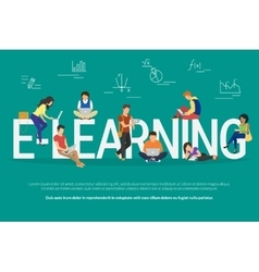 E-learning concept vector image