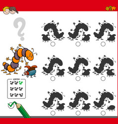 Educational shadow game with insect characters vector