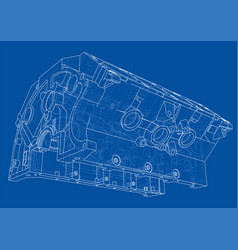 Engine block sketch rendering of 3d vector