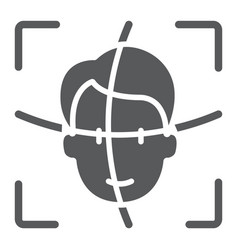face id glyph icon face recognition vector image