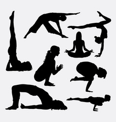 Female yoga sport silhouette vector