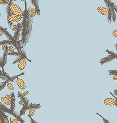 Fir pine cone seamless border vector image