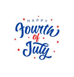 fourth july blue lettering banner vector image