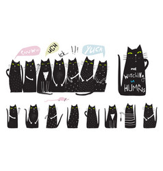 Funny cats collection hand drawn design vector