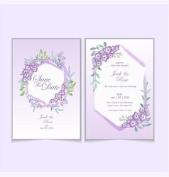 Geranium watercolor flower wedding invitation vector
