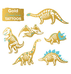 Golden set with cartoon skeletons of dinosaurs vector