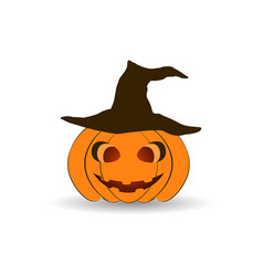 Halloween pumpkin in a hat isolated on white vector