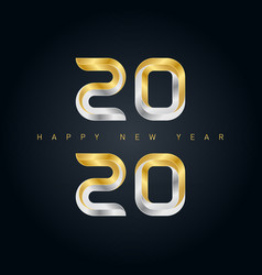 happy new year 2020 background with 3d gold vector image