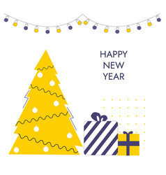 happy new year trendy and minimalistic card or vector image