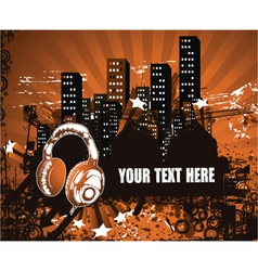 headphones with urban background vector image