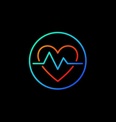 heartbeat in blue circle icon or symbol in vector image