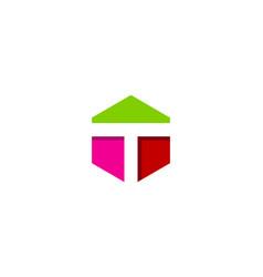 hexagon letter t logo icon design vector image