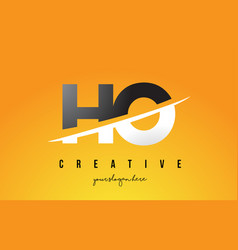 Ho h o letter modern logo design with yellow vector