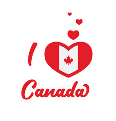 I love canada canada flag inside heart vector