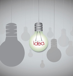 Idea concept with hanging light bulbs vector image