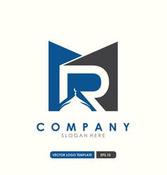 initial letter mr islamic logo design vector image