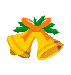 Jingle bells orange ribbon vector