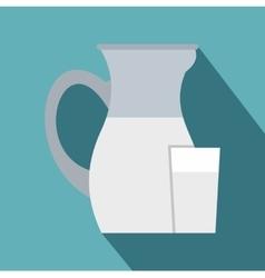 Jug of milk icon flat style vector
