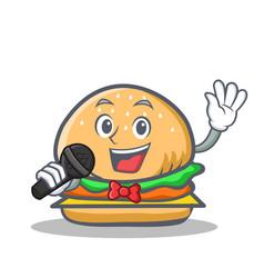 Karaoke burger character fast food vector