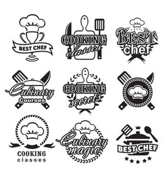 Kitchen classes labels cooking silhouette vector