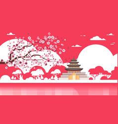 Korea temple silhouette poster palace over sakura vector