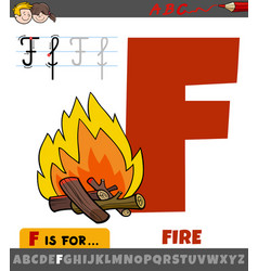 Letter f from alphabet with cartoon fire vector
