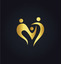 love heart abstract family group gold logo vector image