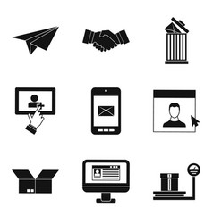mailing icons set simple style vector image