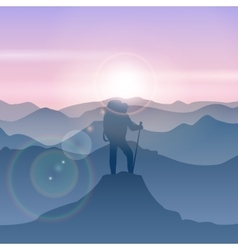 Man stands on the mountain peak travel man vector