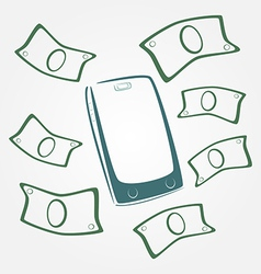 Money flying out of mobile phone vector