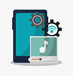 music player related icons image vector image