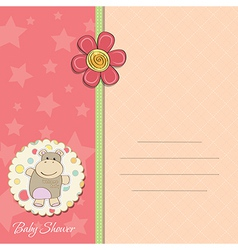 New bagirl announcement card with hippo vector