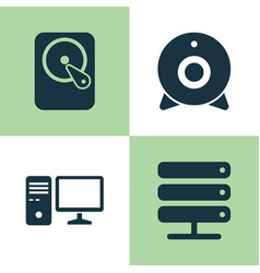 Notebook icons set collection of database hdd vector