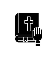 oath black icon sign on isolated vector image