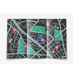 Open paper city map vector image