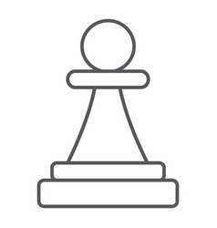 pawn thin line icon game and chess chess figure vector image