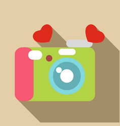 Photocamera icon flat style vector