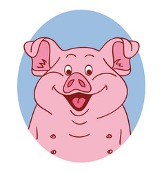 Pig face pig isolated pig portrait vector