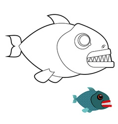 Piranha coloring book Terrible sea fish with large vector