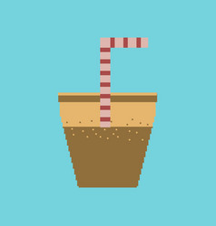 Pixel icon in flat style glass of soda with straw vector