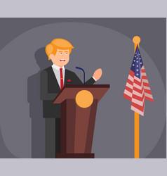 President speech in podium flat design vector